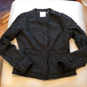 Rebecca Taylor size 2 black/green jacket w/ trim